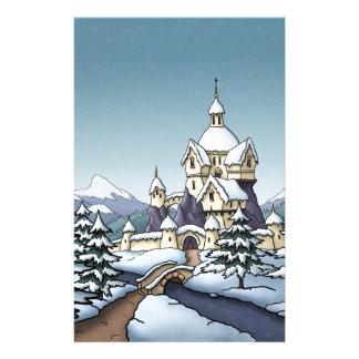 winter castle christmas holiday landscape stationery