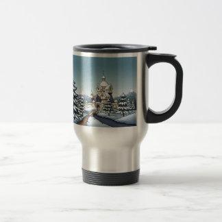 winter castle christmas holiday landscape travel mug