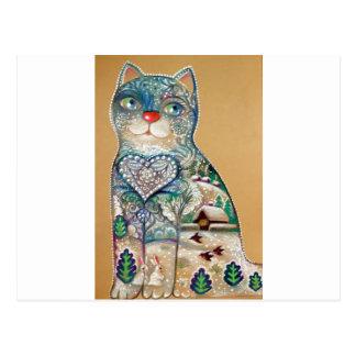 winter cat postcard
