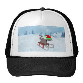 Winter Cat Sledding Trucker Hats