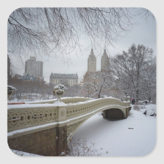 Winter - Central Park - New York City Square Sticker