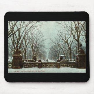 Winter Central Park NY Vintage c1910 Mouse Pad