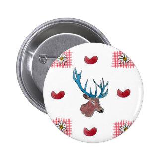 Winter Chalet deer with heart Button