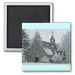 Winter Chapel 2 Inch Square Magnet