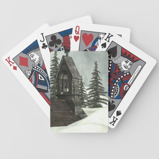 Winter Chapel Bicycle Playing Cards