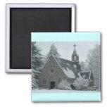 Winter Chapel Fridge Magnet