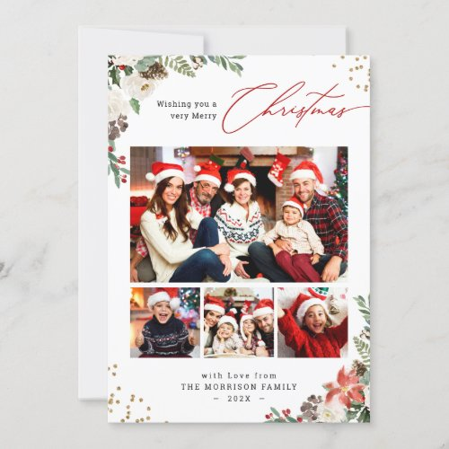 Winter Chic Botanical Floral 4 Photo Christmas Holiday Card