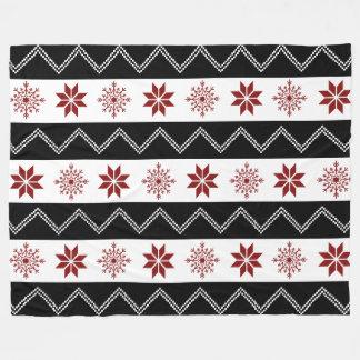 Winter Chic Red White + Black Zigzag Blanket