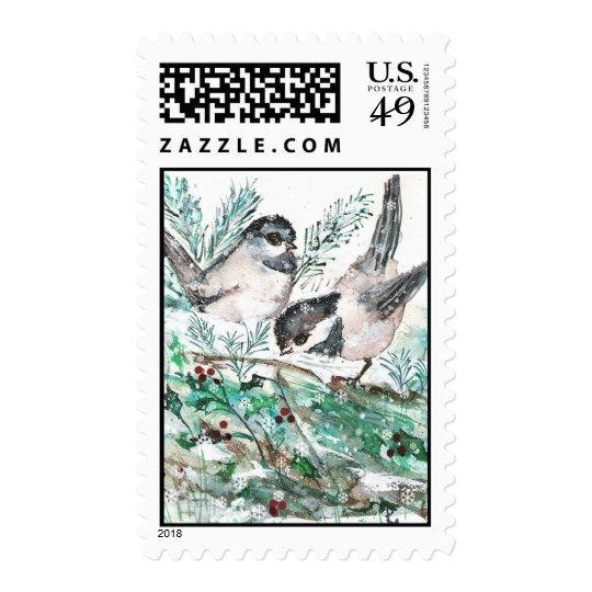 Winter Chickadee Painting Postage