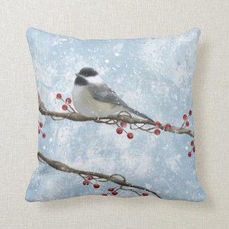 Winter Chickadee Pillow