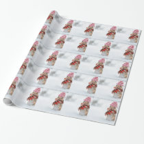 Winter Chipmunk Knit Hat Red Scarf Bundled Up Wrapping Paper
