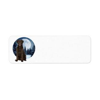 Winter Choco Lab Return Address Labels