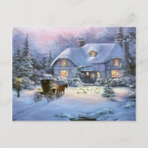 Winter Christmas Cottage Holiday Postcard