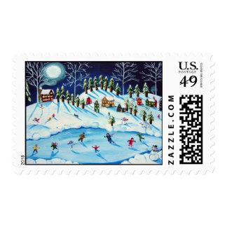 Winter Christmas Fun Folk Art Holiday Stamps