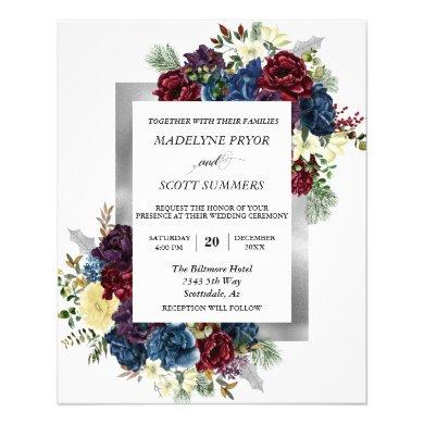 Winter Christmas Rose Floral Wedding Watercolor Fl Flyer