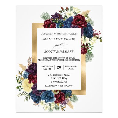 Winter Christmas Rose Floral Wedding Watercolor Flyer