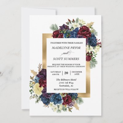 Winter Christmas Rose Floral Wedding Watercolor In Invitation