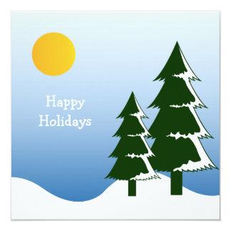 Winter Christmas Scene Flat Greeting Card
