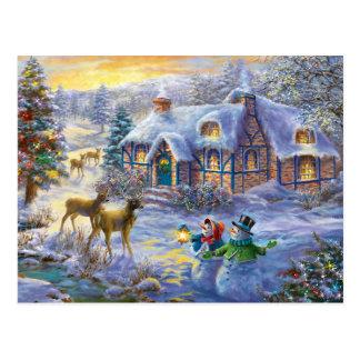 Winter Christmas Snow Cottage Postcard