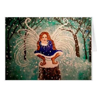 Winter Christmas Snow Fairy Art Greeting Card