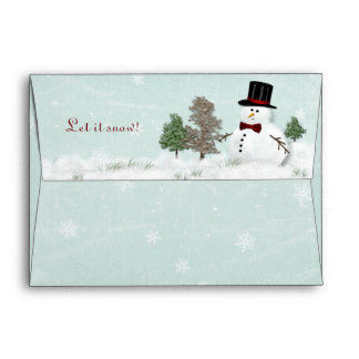 Winter Christmas Snowman in a Meadow A7 Envelope