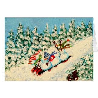 Winter,Christmas,snowmen,sleding,rabbits,pine Card