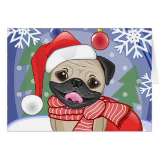 Winter & Christmas Time Pug Card