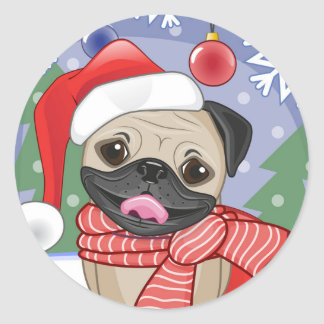 Winter & Christmas Time Pug Classic Round Sticker