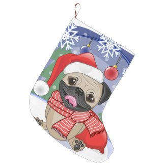 Winter & Christmas Time Pug Large Christmas Stocking