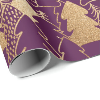 Winter Christmas Tree Purple  Gold Glitter Wood Wrapping Paper