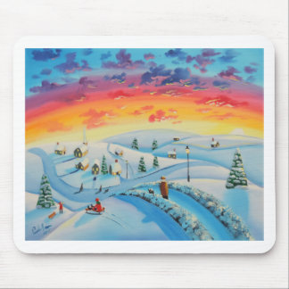 Winter Christmas village painting by Gordon Bruce Mouse Pad