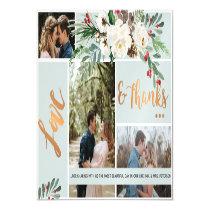 Winter | Christmas Wedding Love & Thanks Blue Gold Magnetic Invitation
