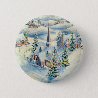 WINTER CHURCH by SHARON SHARPE Pinback Button