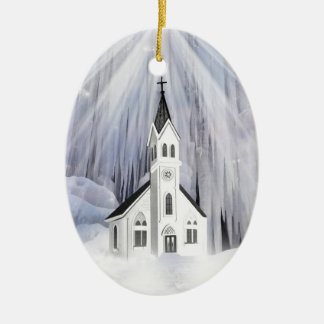 Winter Church Double-Sided Oval Ceramic Christmas Ornament