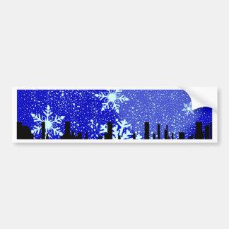 Winter Cityscape Background Bumper Sticker