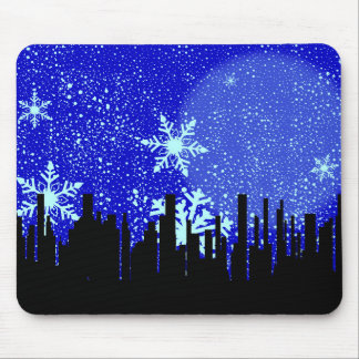 Winter Cityscape Background Mouse Pad