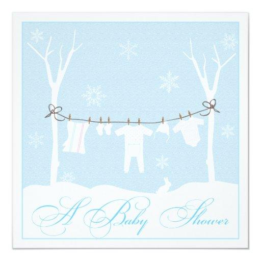 winter clothesline baby shower invitation zazzle