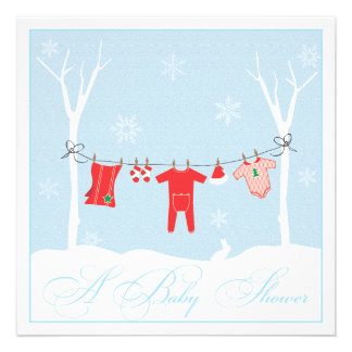 Winter Clothesline Baby Shower Invitation
