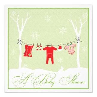Winter Clothesline | NeutralBaby Shower Invitation
