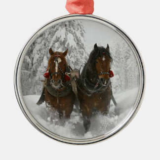Winter Clydesdales Christmas Tree Ornaments