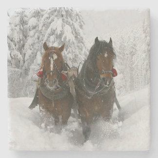 Winter Clydesdales Stone Beverage Coaster