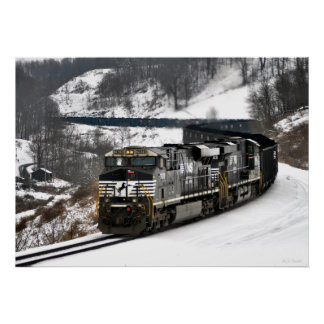 Winter Coal Train Poster