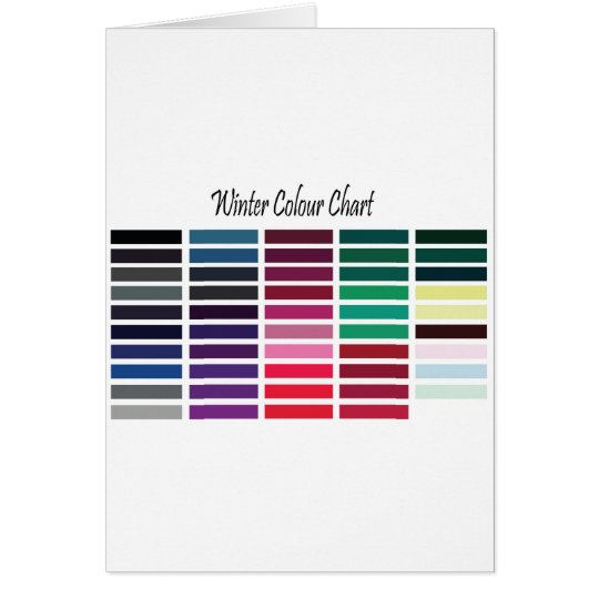 Winter Color Chart Card