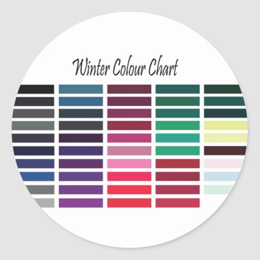 Winter Color Chart Classic Round Sticker