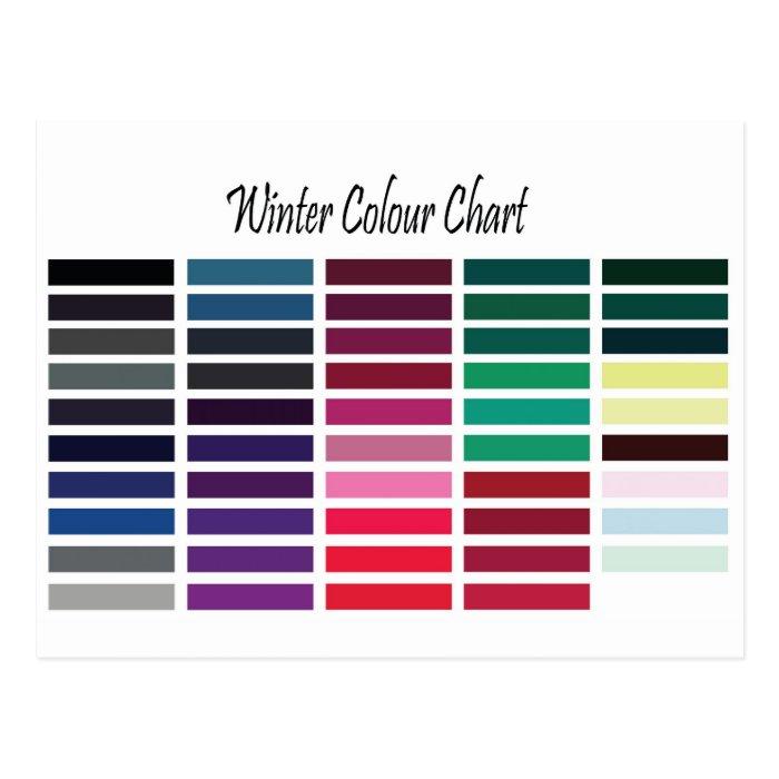 Winter Color Chart Postcard