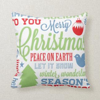Winter Colors Christmas Subway Art Pillow