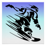 Winter Colors Fast Snowboarder Perfect Poster