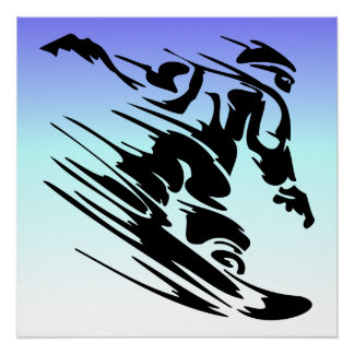 Winter Colors Fast Snowboarder Poster