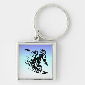 Winter Colors Fast Snowboarder Silver-Colored Square Keychain