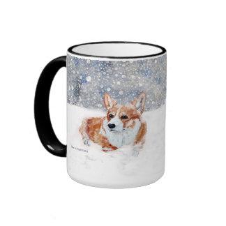 Winter Corgi Ringer Coffee Mug